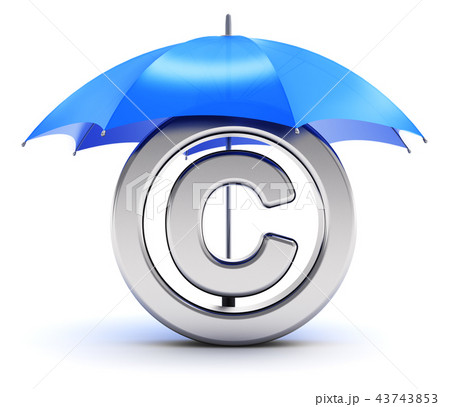 Silver copyright symbol covered by red umbrella 43743853