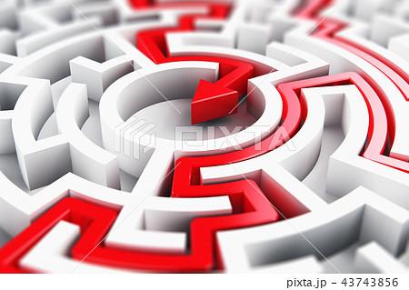 Solved round circle labyrinth maze 43743856
