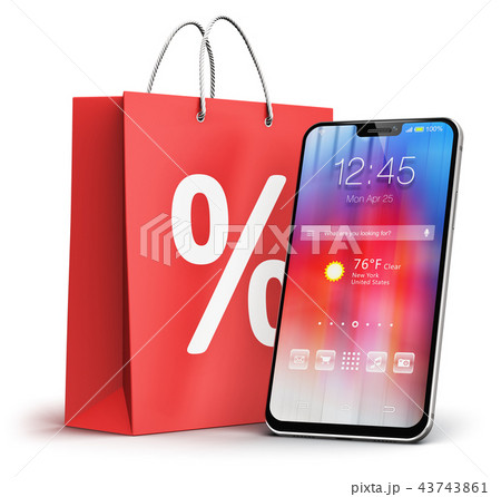 Smartphone and shopping bag with percent discount 43743861