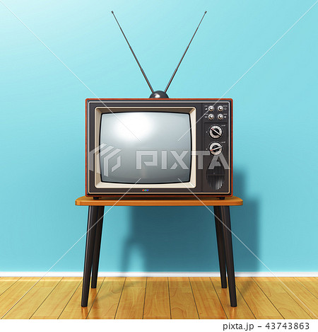 Old retro TV against blue vintage wall in the room 43743863