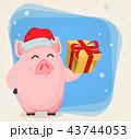ブタ メリークリスマス メリー・クリスマスのイラスト 43744053
