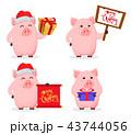 ブタ メリークリスマス メリー・クリスマスのイラスト 43744056