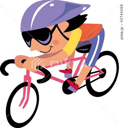 ロードバイクに乗る女性 43744269