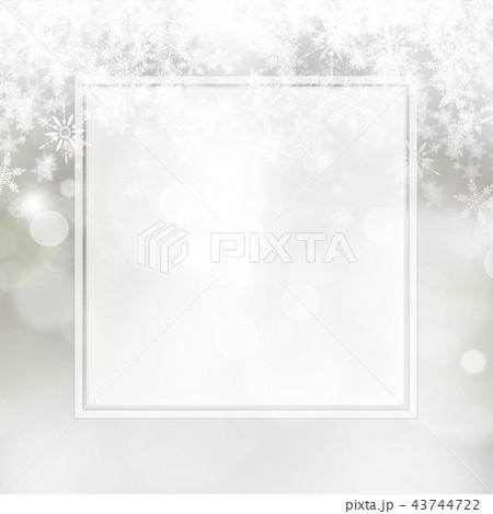 背景-雪-クリスマス-シルバー-キラキラ-フレーム 43744722