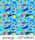 pattern with ocean animals and diver 43748643