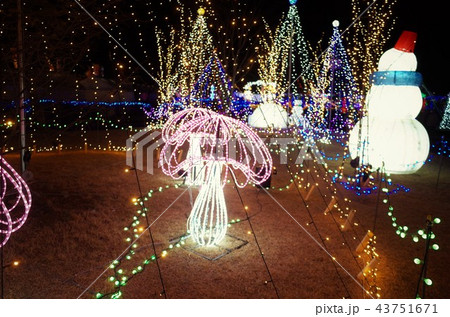 群馬県榛名湖のクリスマスイルミネーションフェスティバル、抽象的なきらきら装飾、ピンぼけの光と雪だるま 43751671