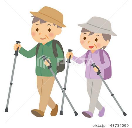 ハイキングの老夫婦 43754099