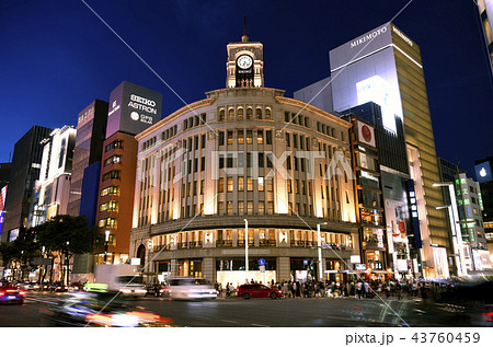 日本の東京都市景観 銀座の街並みを望む 夜景 の写真素材