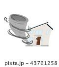 家 台風 突風のイラスト 43761258