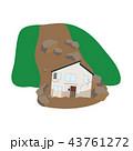 土砂崩れに襲われた家のイラスト 43761272