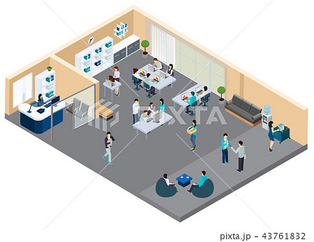 Office Isometric Composition 43761832