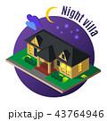 Night Villa Isometric Illustration 43764946