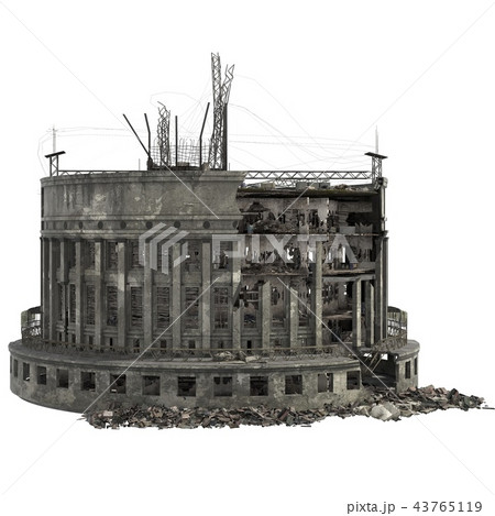 Ruined Building Isolated On White 3D Illustration 43765119