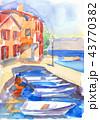 漁師町 漁村 水彩画のイラスト 43770382