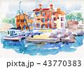 漁師町 漁村 水彩画のイラスト 43770383
