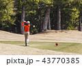 女性ゴルファー ティーショット プレイイメージ イメージ素材 43770385