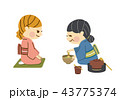 茶道 女性 抹茶のイラスト 43775374