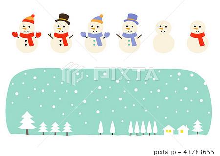 雪だるまと冬の風景 セット 43783655