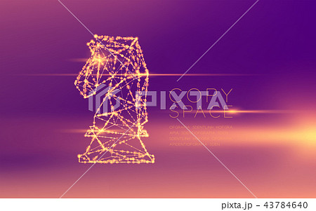 Chess Knight wireframe polygon futuristic bokeh 43784640