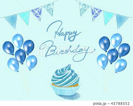 お誕生日ブルーのイラスト素材 43788352 Pixta