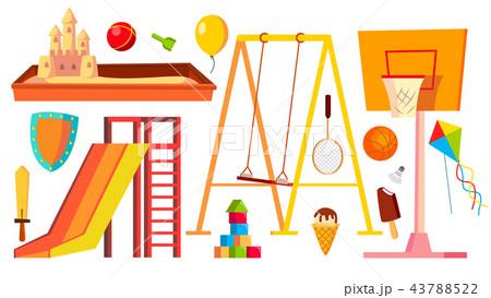 Playground Equipment Set Vector. Children, Kids Playing Area. Kindergarten Sandbox, Swings, Slide 43788522