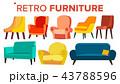家具 レトロ 白背景のイラスト 43788596