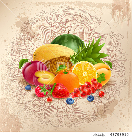 Fruit and berries round design 43793916