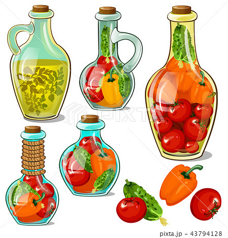 Set of decorative glass bottles with pickled ripe vegetables. Element of interior design on theme of 43794128
