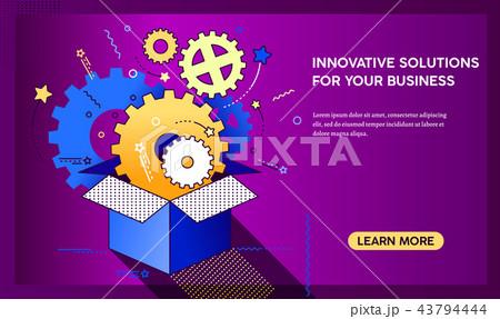 outside the box innovation concept gorisontal bannerのイラスト素材