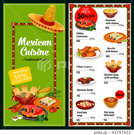 Mexican national restaurant menu dishes 43797922