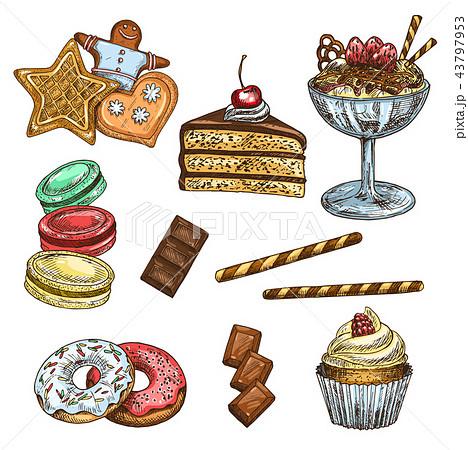 Cake, cupcake and ice cream dessert sketch 43797953