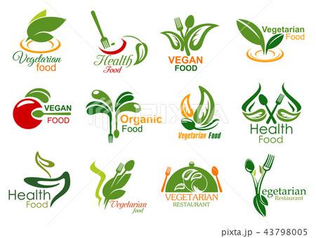 Vegetarian restaurant and organic food icons 43798005