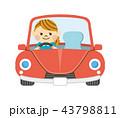 ドライブ 車 女性のイラスト 43798811