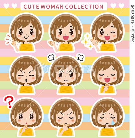 女性 表情 セット(フチ有) 43803800