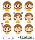 女性 表情 セットのイラスト 43803801