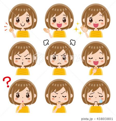 女性 表情 セット 43803801