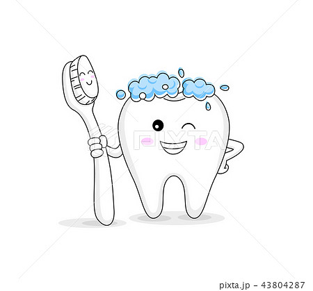 cute cartoon tooth character holding toothbrush.  43804287