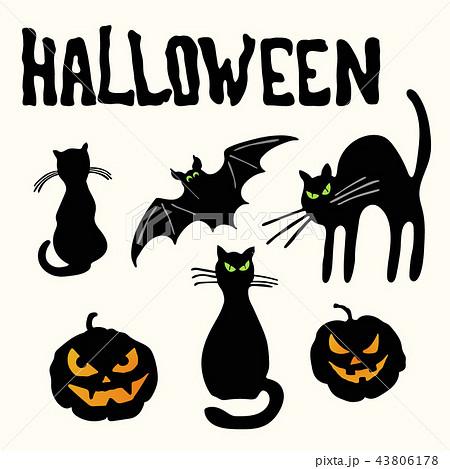 Cats, pumpkin lanterns, bat and Halloween title 43806178