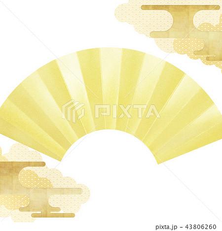 和-背景-金箔-雲-霞-扇 43806260