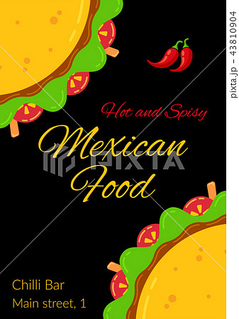 tasty mexican taco food celebration menu templateのイラスト素材