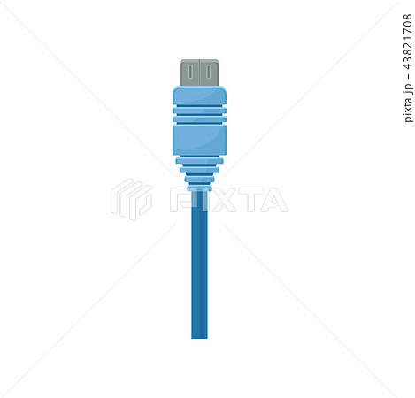 Data or USB connector with bright blue cable. Item for connecting computer with peripheral device 43821708