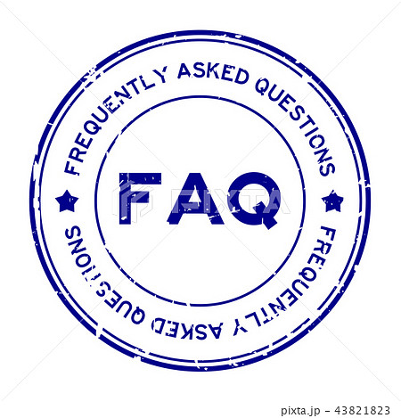 Grunge blue FAQ rubber stamp 43821823