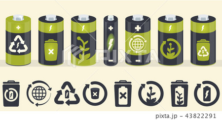 Vector battery cylinder elements. Eco icons set 43822291