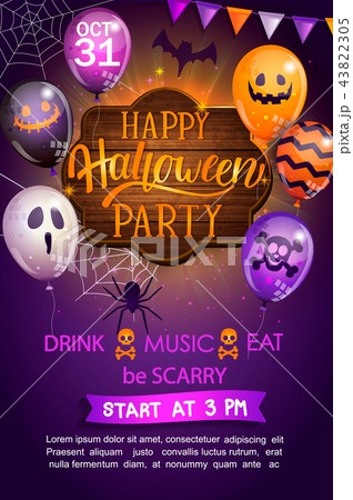 Welcome Flyer for Happy Halloween party. 43822305