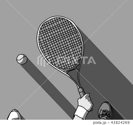 Tennis grayscale feet and hand with racket top view 43824269
