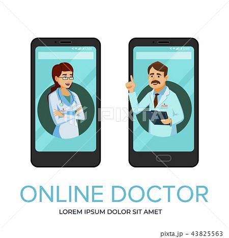 cartoon online doctor app poster templateのイラスト素材 43825563