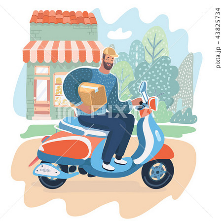 Courier man holding box and riding motorbike 43825734