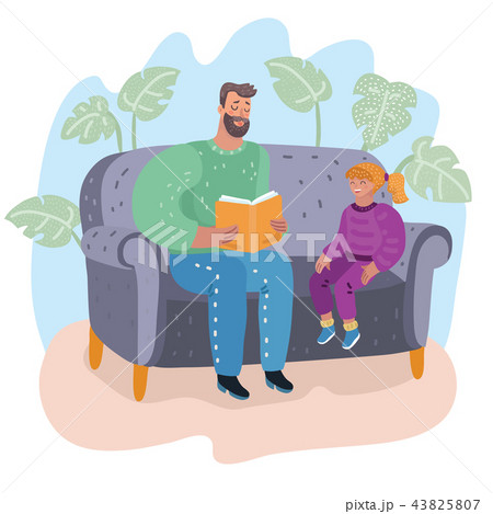 Dad reading a book to his daughter. Fatherhood 43825807