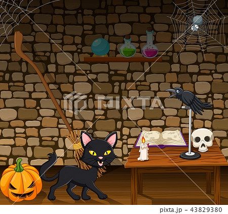 Cartoon black cat in the witch house 43829380