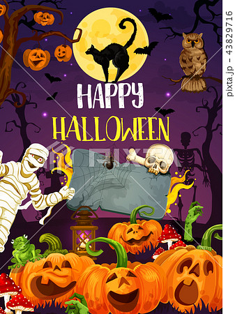 Halloween pumpkin, monsters and mummy at cemetery 43829716